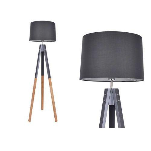 Lampa podłogowa w skandynawskim stylu STAVENGER - Drewniane nogi - 149x50x50 cm - Kolor czarny
