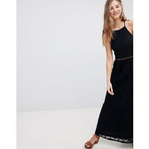 Hollister Sheer Lace Maxi Dress - Black, kolor czarny