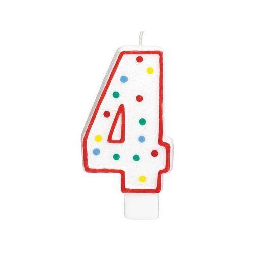 Amscan Świeczka cyferka w kropeczki cztery 4 - 13 cm - 1 szt. (0048419967712)