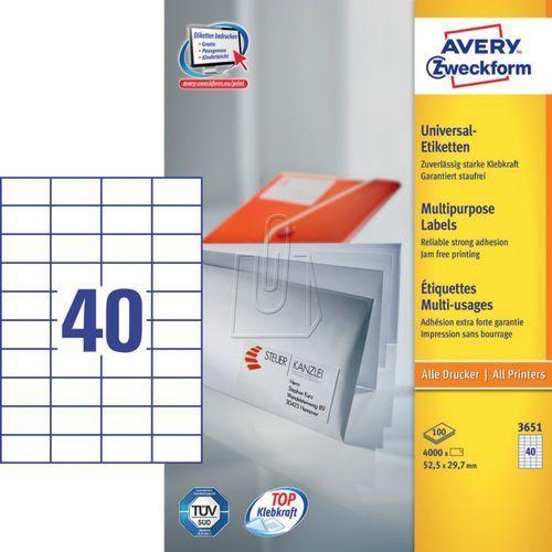 Etykiety uniwersalne trwałe A4 52,5 x 29,7mm 100 arkuszy Avery Zweckform 3651, 01795