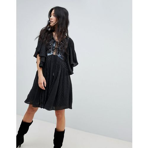 Free People Moonglow Embellished Mini Dress - Black