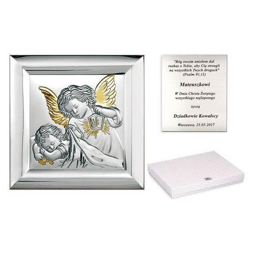 Obrazek srebrny na chrzciny anioł stróż grawer pr324 marki Murrano
