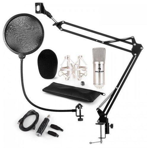 Cm001s zestaw v4 mikrofon pojemnościowy adapter usb ramię pop-filtr srebrny marki Auna