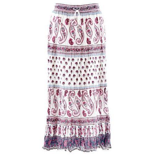 Długa spódnica biel wełny z nadrukiem, Bonprix, 46-54