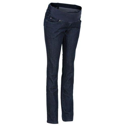 Dżinsy ciążowe z paskiem pod brzuch, proste nogawki  ciemny denim marki Bonprix