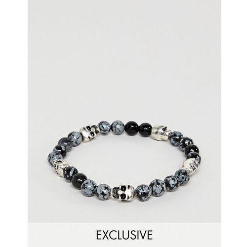 Reclaimed Vintage Inspired Black Beaded Bracelet With Skulls Exclusive To ASOS - Black, kolor czarny