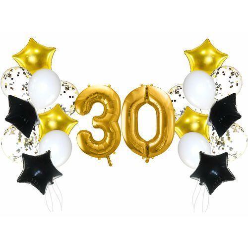 Zestaw balonów na trzydziestkę złoto-czarny - 21 szt. marki Party deco
