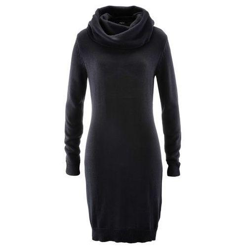 Sukienka dzianinowa z golfem bonprix czarny, w 4 rozmiarach