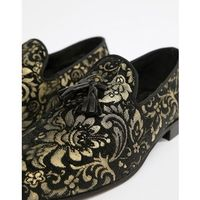 leather loafers with gold embroidery in black - black, River island