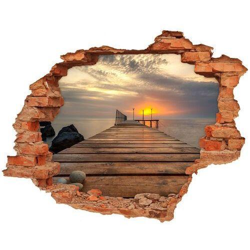 Wallmuralia.pl Dziura 3d w ścianie naklejka drewniane molo