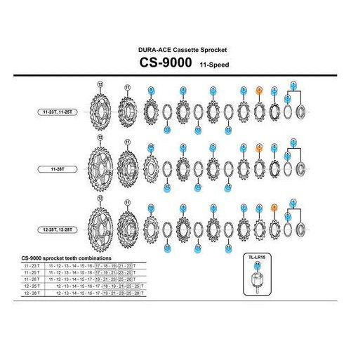 Koronka kasety Shimano 12z CS9000 z pierścieniem ostatnia (4524667948759)