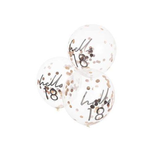Balony lateksowe przezroczyste hello 18 z konfetti - 30 cm - 5 szt. marki Ginger ray