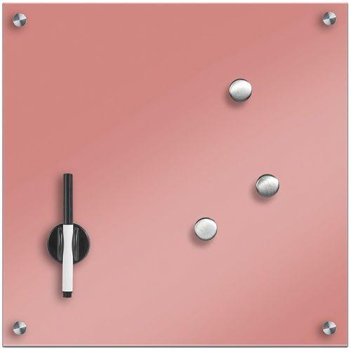 Szklana tablica magnetyczna MEMO, pudrowy różowy + 3 magnesy, 40x40 cm, ZELLER