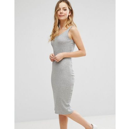 Brave soul  sleeveless rib midi dress - grey