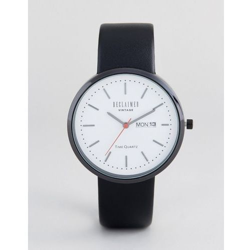 Reclaimed Vintage Inspired Date Leather Watch In Black Exclusive to ASOS - Black