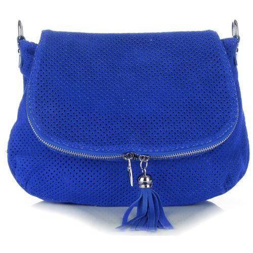 Genuine leather Włoskie ażurowane torebki skórzane listonoszki firmy kobalt (kolory)