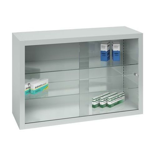 Szafka na lekarstwa, 2 drzwi przesuwnych, 2 półki, jasnoszara. z blachy stalowej marki Mauser