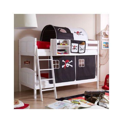 TICAA Łóżko piętrowe Erni Country Pirat białe drewno sosnowe kolor czarno-biały - produkt z kategorii- Łóżeczka i kołyski
