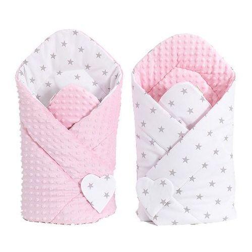 Mamo-tato zabawka dwustronny rożek minky dla lalek gwiazdki szare na bieli / jasny róż