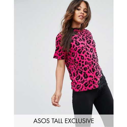Asos exclusive tall t-shirt with cutwork lace in bright animal print - multi marki Asos tall