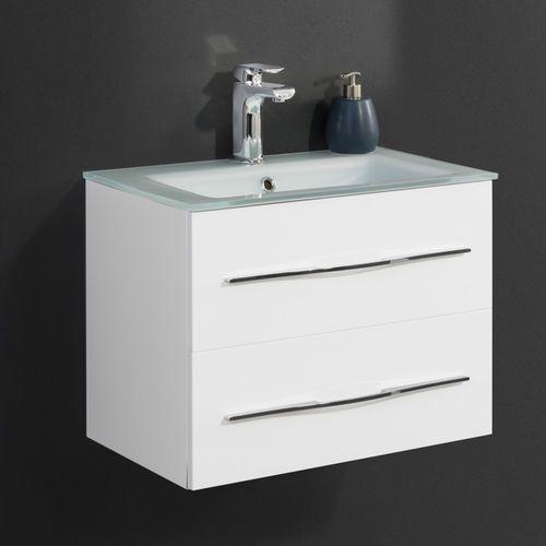 Badmobil by fackelmann Zestaw białych mebli łazienkowych gamma 60 cm szklana umywalka