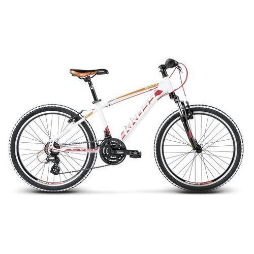 """Rower młodzieżowy Kross Level Replica 24"""" 2018 - biały / czerwony / pomarańczowy mat"""