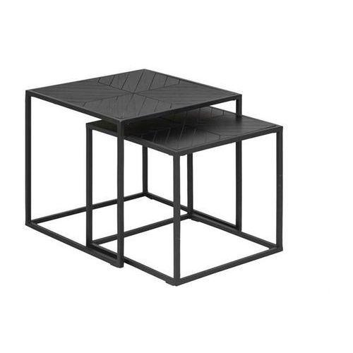 ACTONA zestaw stolików ORTIZ czarne - drewno pawilonia, metal