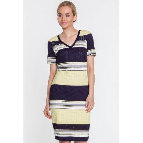 Dzianinowa sukienka w paski - Margo Collection, kolor niebieski