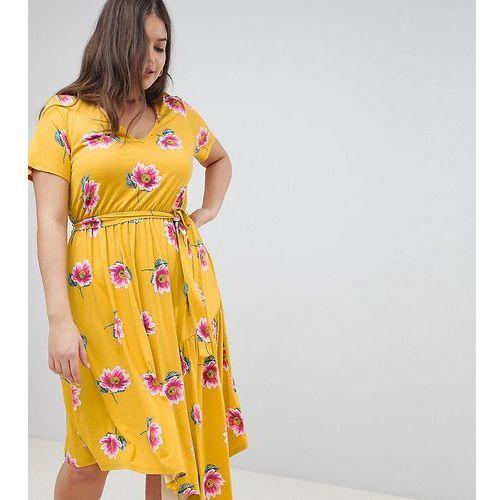 Asos design curve tea dress with tie waist and asymmetric hem in floral print - multi marki Asos curve