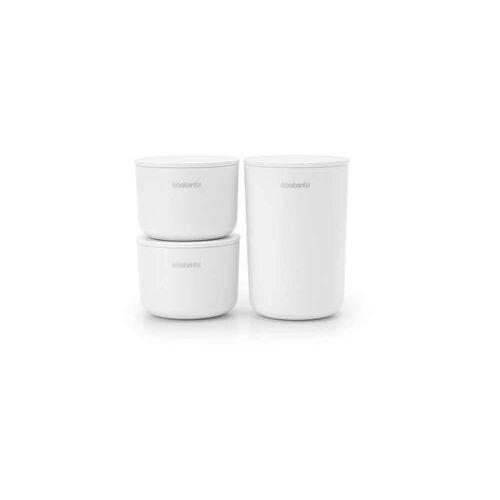 """Brabantia - pojemniki do przechowywania, zestaw 3 szt """"renew collection"""" - białe - biały, 281327"""