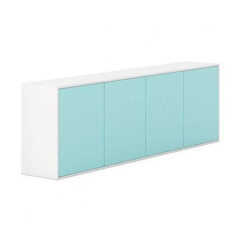 Szafka z drzwiami długa white layers, turkusowe drzwi marki Plan