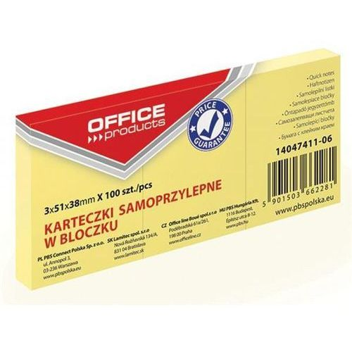 Office products Bloczek samoprzylepny , 38x51mm, 1x100 kart., pastel, jasnożółty