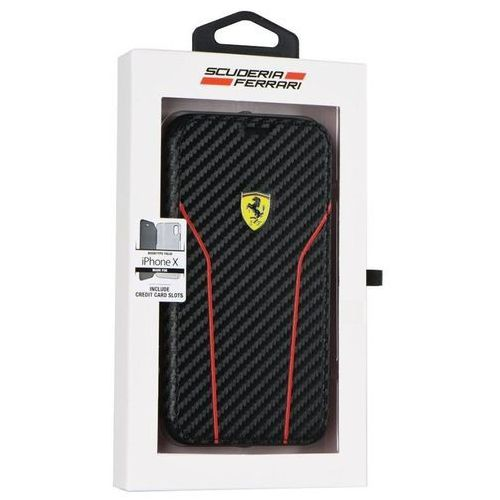 Ferrari racing carbon book - etui iphone x z kieszeniami na karty (czarny)