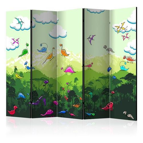 Artgeist Parawan 5-częściowy - kolorowe dinozaury ii [room dividers]
