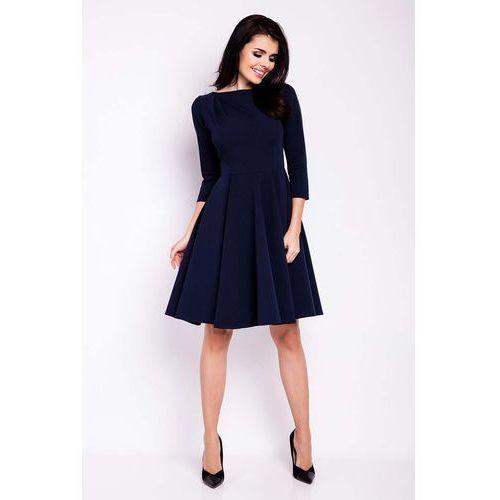 Infinite you Granatowa sukienka elegancka rozkloszowana z zakładkami przy dekolcie
