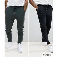 ASOS Super Skinny Joggers 2 Pack Dark Green/Black SAVE - Multi