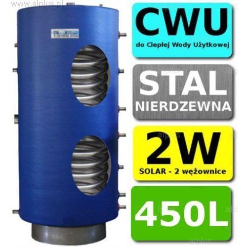 450l 2-wężownice nierdzewka solar, 2w zbiornik zasobnik wymiennik bojler, nierdzewna stal, wysyłka gratis marki Chełchowski