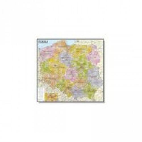 Polska. Mapa administracyjno-samochodowa (listwa) laminowana mapa ścienna w skali 1:570 000