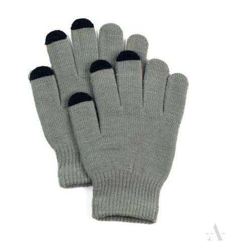 Szare elastyczne rękawiczki damskie do ekranów dotykowych - szary