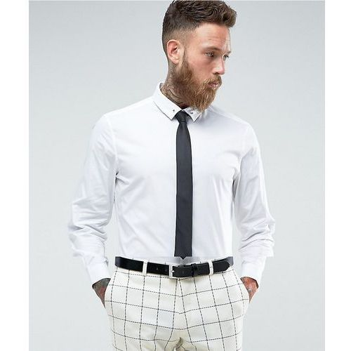 ASOS Slim Shirt in White With Black Tie And Tie Pin SAVE - White, w 5 rozmiarach