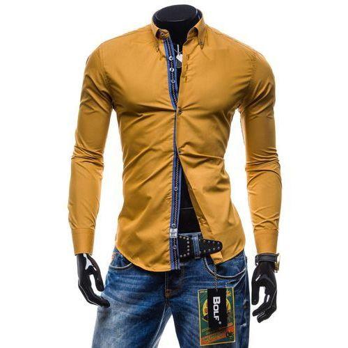 Camelowa koszula męska elegancka z długim rękawem Bolf 5703 - CAMELOWY marki BOLF