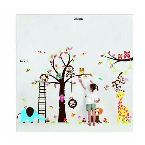 Naklejka dekoracyjna Bajkowe drzewo sowy, małpki, żyrafa