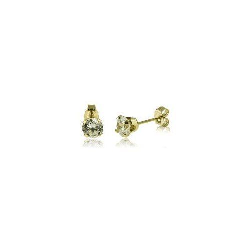 Złote kolczyki wkrętki z kryształkami swarovskiego