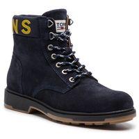 Trapery - suede boot em0em00235 black iris 431 marki Tommy jeans