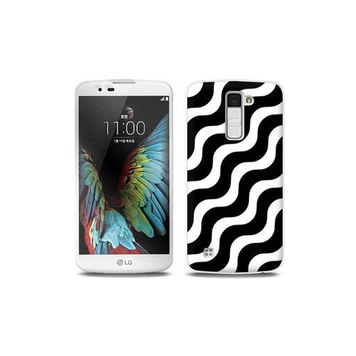 LG K10 - etui na telefon Full Body Slim Fantastic - biało-czarna fala