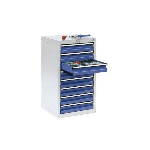 Szafka z szufladami,wys. x szer. x gł. 900 x 500 x 500 mm, 8 szuflad o wys. 100 mm marki Stumpf-metall