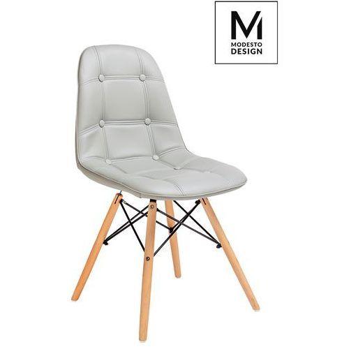 MODESTO krzesło EKOS WOOD szary - ekoskóra, podstawa bukowa, kolor szary