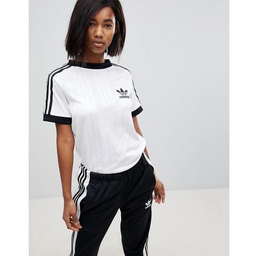 adidas Originals Three Stripe Polyknit T-Shirt In White - White, kolor biały