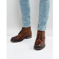 Jack & Jones Justin Leather Lace Up Boots - Brown