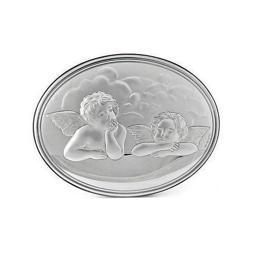 Obrazek srebrny z aniołkami - 2l - 7 x 9 cm marki Valenti